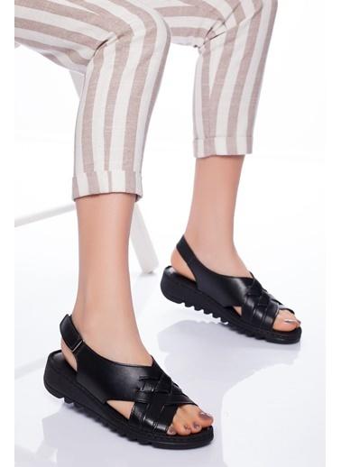 Derithy Derithy-Hakiki Deri Sandalet-Siyah Siyah